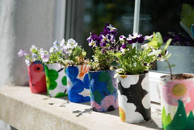 barattoli di latta riciclati e trasformati , dopo un laboratorio, in una fioriera