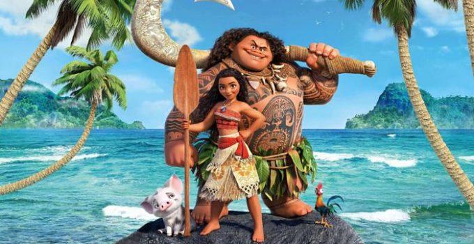La principessa Vaiana e il semidio Maui in una scena del film d'animazione Oceania