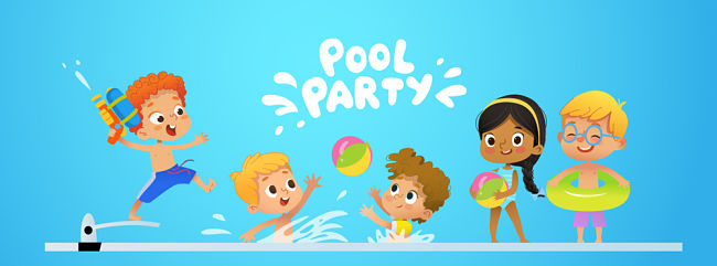 Template per inviti per festa in piscina per bambini