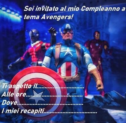Invito a tema Avengers da stampare