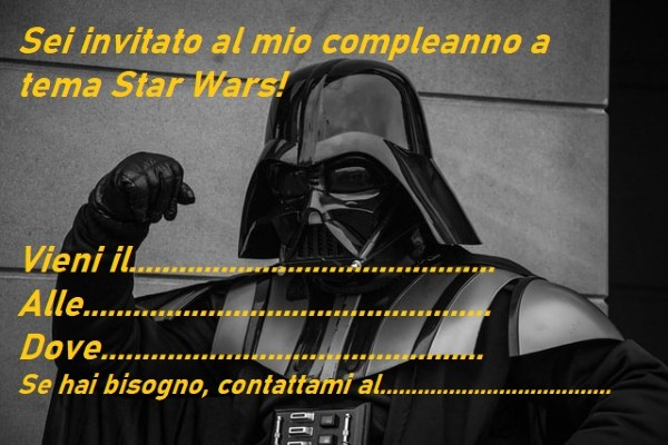 Invito festa a tema Star Wars da stampare